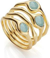 gold siren cluster cocktail ring aquamarine