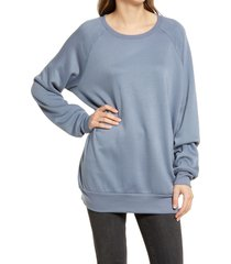women's treasure & bond crewneck tunic sweatshirt, size medium - grey