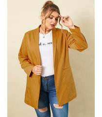 abrigo de manga larga con bolsillos laterales y cuello de solapa de talla grande yoins