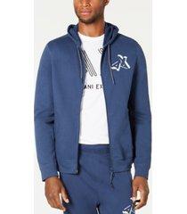 ax armani exchange men's zip front logo hoodie