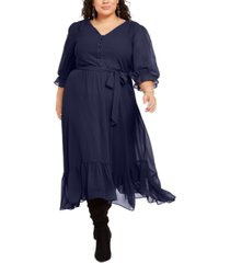 ny collection plus size button-front dress