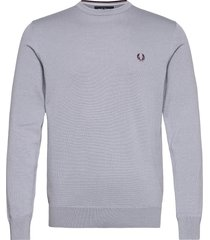 classic c/n jumper stickad tröja m. rund krage silver fred perry