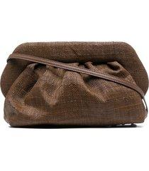 themoirè bios woven clutch - brown