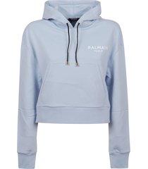 balmain cropped flocked logo detail hoodie - eco design