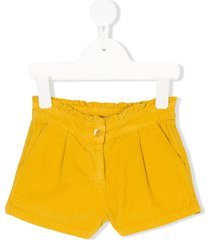 knot scalloped corduroy shorts - yellow