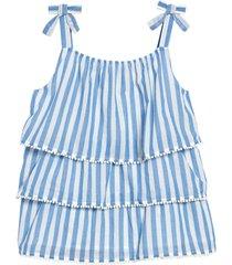 girl's mini boden kids' stripe tiered top, size 6-7y - blue