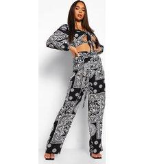 geknoopte sjaal print top en wide leg broek, black