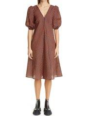 women's ganni check balloon sleeve dress, size 0 us - red