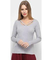 blusa adooro! sueter tricot perolas feminina
