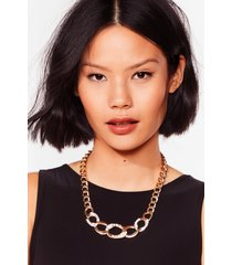 womens bling on the night diamante chain necklace - gold