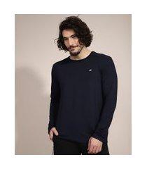 camiseta esportiva ace manga longa gola careca com proteção uv50+ azul marinho