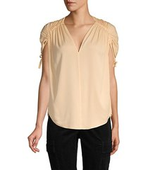 ruched stretch silk top