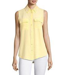 equipment women's slim signature silk sleeveless shirt - bright white - size xl