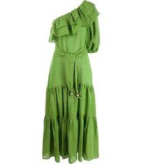 lisa marie fernandez one-shoulder tiered dress - green