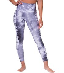 onzie women's graphic high waisted 7/8 yoga leggings - light gray tie dye x-small/small spandex