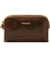 tuscany leather tl140850 igor - beauty case in pelle testa di moro