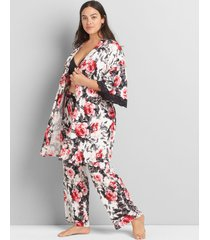 lane bryant women's floral lace-trim robe 12 rosie cheeks