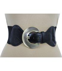women big round gold metal buckle fashion black stretch belt hip waist size s m