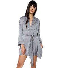kimono en seda cinturon ref. 177726 gris