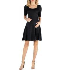 24seven comfort apparel knee length a line elbow sleeve maternity dress