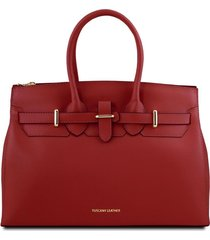 tuscany leather tl141548 elettra - borsa a mano media in pelle con accessori oro rosso