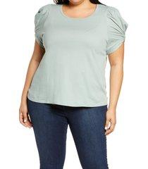 plus size women's bobeau puff sleeve cotton t-shirt, size 2x - green