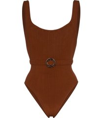 hunza g solitaire nile belted swimsuit - brown