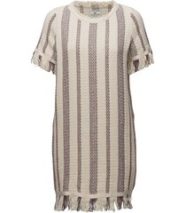 baha woven fringe dress jurk knielengte beige lexington clothing