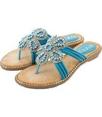 sandalias de moda con cuentas de pétalos de diamantes-azul