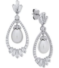 arabella cultured freshwater pearl (7mm) & swarovski zirconia orbital drop earrings in sterling silver