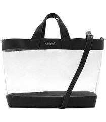bolsa sacola desigual com necessaire transparência preta