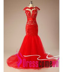 sexy mermaid red tulle sheerlace appliques formal evening prom /party dress