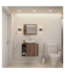 conjunto para banheiro gabinete com cuba folha l38 e espelheira soft 600 nogal