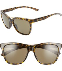 women's smith cavalier 55mm chromapop(tm) cat eye sunglasses - vintage tortoise/ green