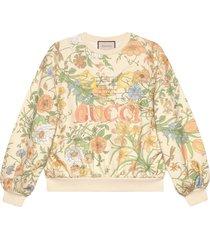 gucci flora print oversized sweatshirt - white