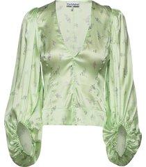 silk stretch satin blouse lange mouwen groen ganni
