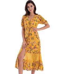 vestido floral encaje amarillo nicopoly