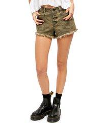 women's free people santa cruz camo cutoff denim shorts, size 31 - green
