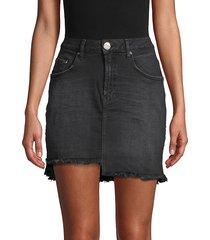 one teaspoon women's 2020 raw hem high-rise denim mini skirt - black - size 23 (00)