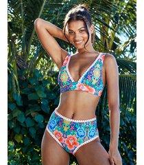 frida floral non wired high apex plunge bikini top