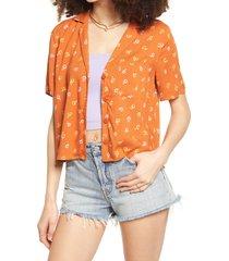 women's bp. camp shirt, size medium - orange