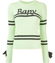 bapy by *a bathing ape® bow detail ribbed knit sweater - green