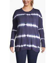 lane bryant women's active tie-dye stripe hooded tunic 18/20 navy