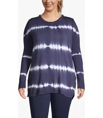 lane bryant women's active tie-dye stripe hooded tunic 14/16 navy