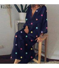 zanzea mujeres más el tamaño de cuello en v impreso floral holgada la altura del tobillo kaftan vestido maxi -azul marino