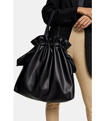 black bow side tote bag - black