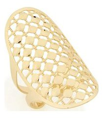 anel com detalhe oval vazado bolas lisas sobrepostas rommanel