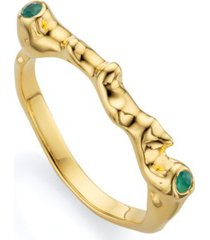 gold siren skinny ring green onyx