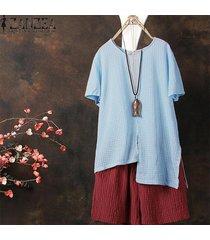 zanzea ocasional de las mujeres camiseta de algodón camiseta t-check plus tamaño túnica de la blusa -azul claro