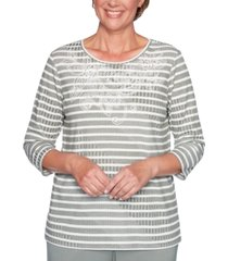 alfred dunner petite loire valley striped embellished top